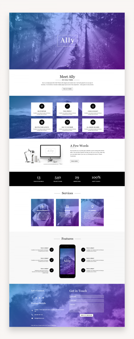 Ally - Multipurpose Divi Child Theme