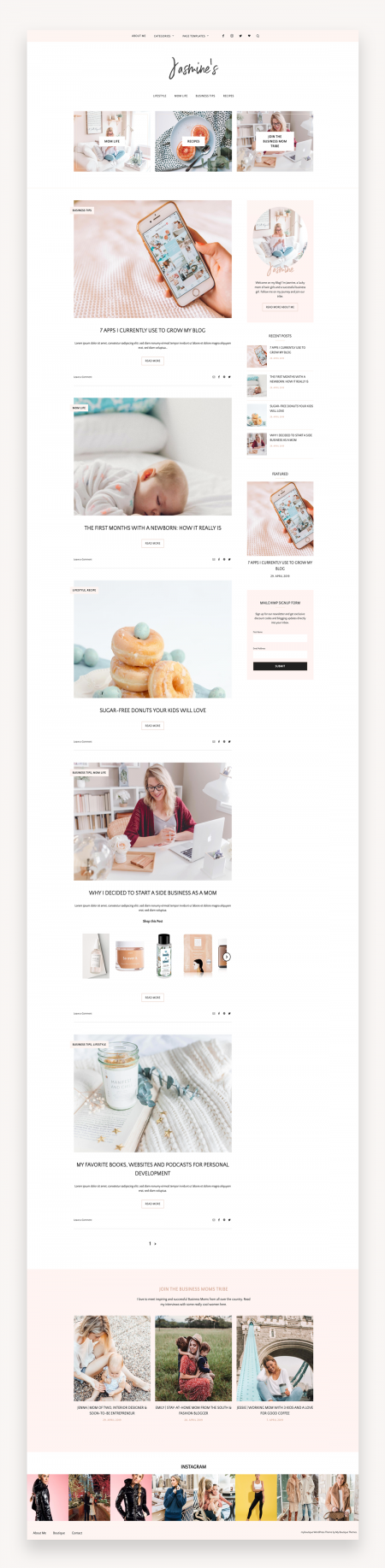 Feminine Blog and Shop Theme - Jasmine