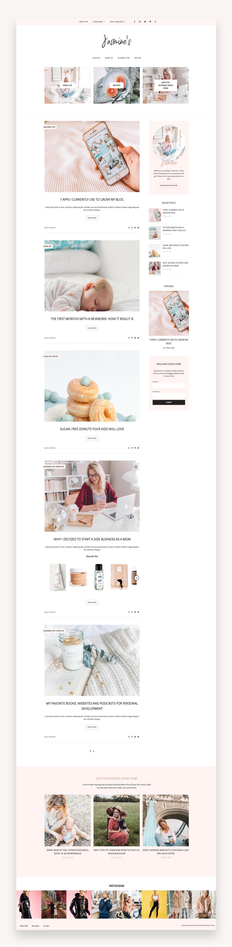 Feminine Blog and Shop Theme - Jasmine