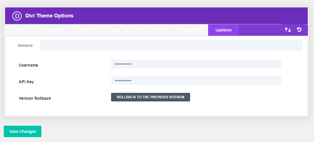 How to update Divi RollBack