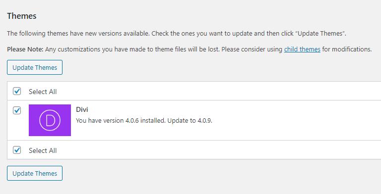 Updating Divi Step 1