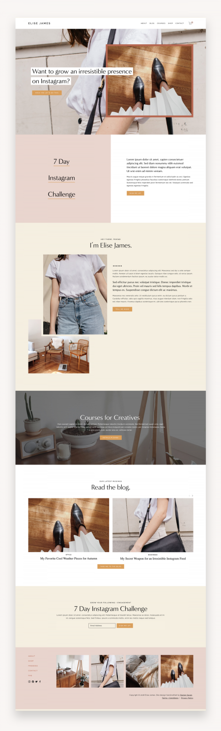 Elise James Squarespace Template
