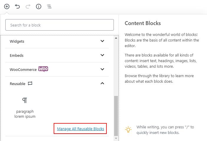 manage all reusable blocks step 1