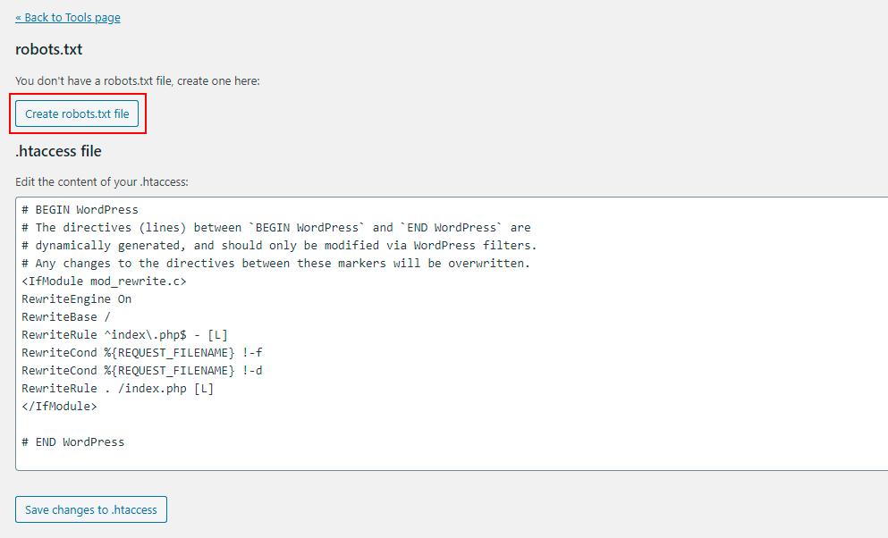 yoast seo tools file editor create robot file