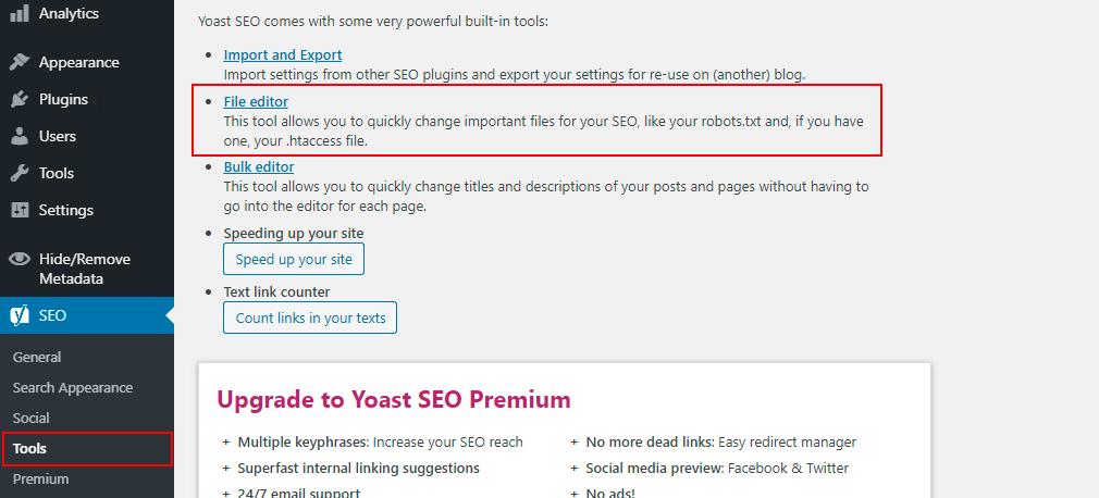 yoast seo tools file editor