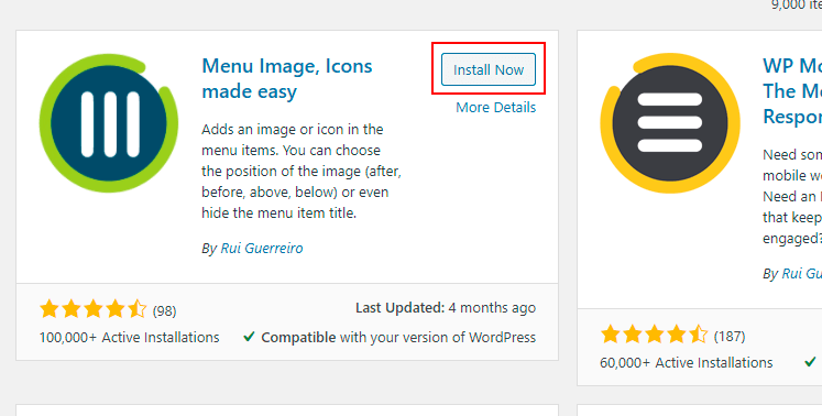 menu image plugin wordpress install