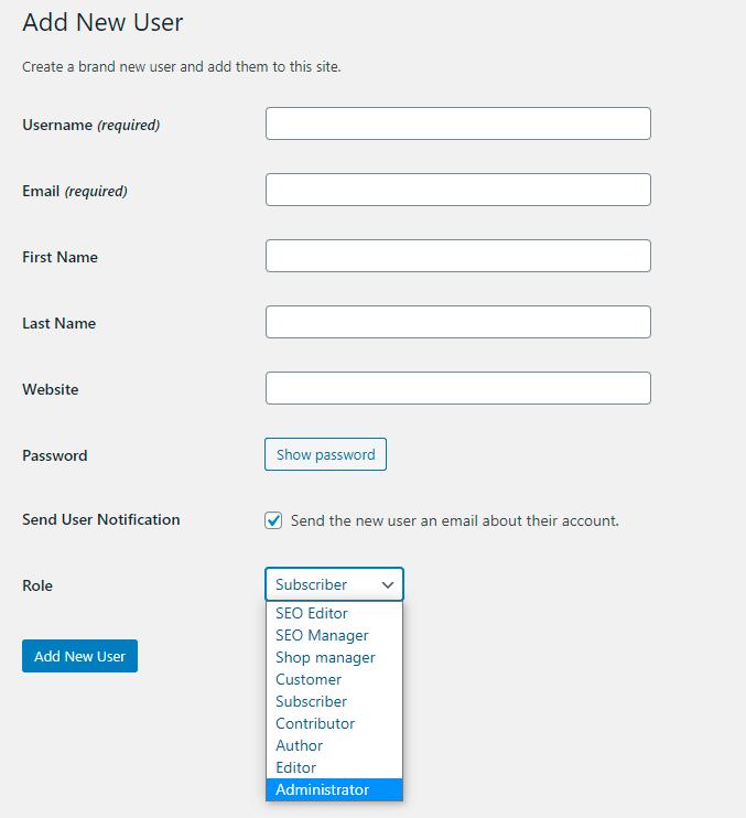 WordPress Add New User