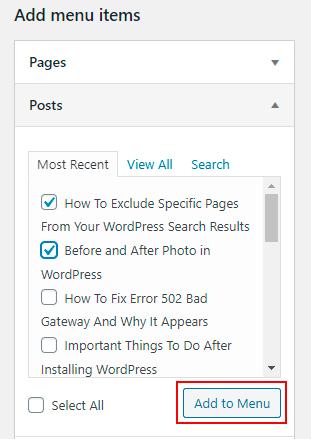 add post to WordPress menu