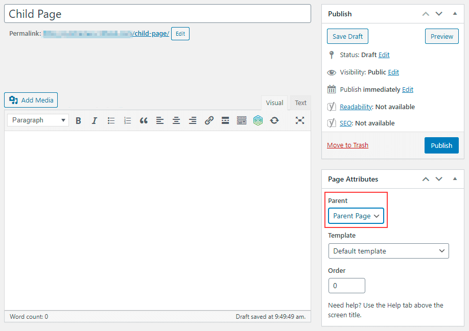 Create a Child Page in WordPress