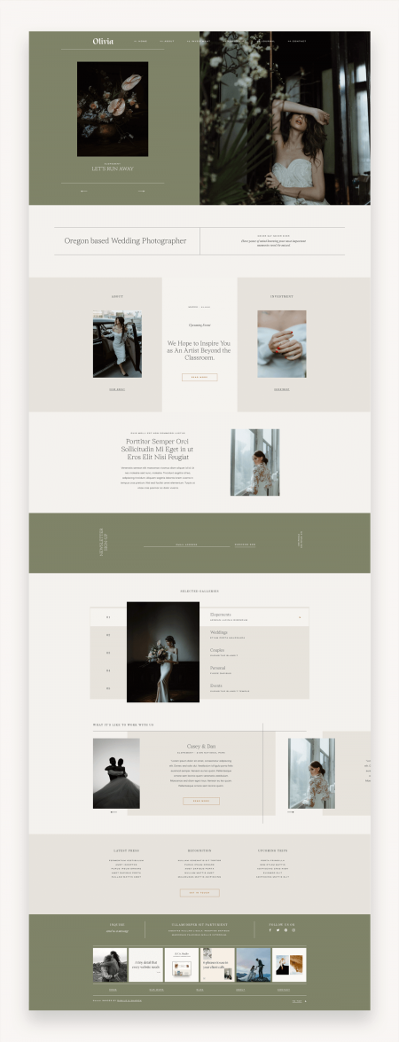 Olivia Photography Squarespace Template